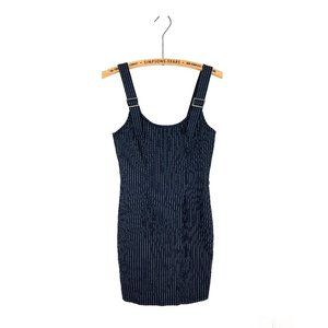 Forever 21 Pinstripe Bodycon Dress Navy y2k Party